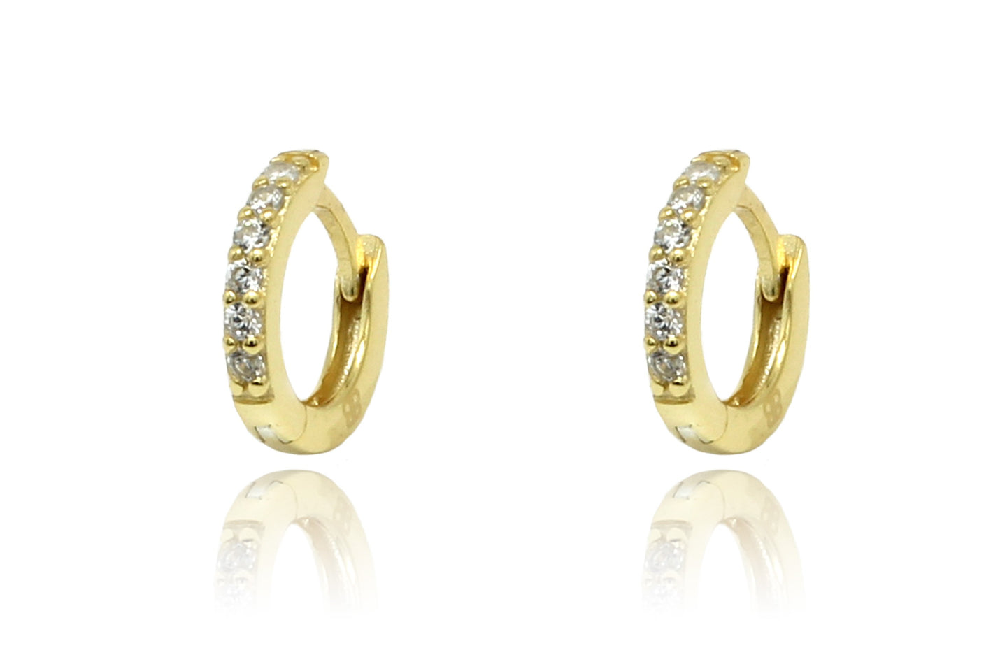 Dorval Gold CZ Hoop Huggie Earrings