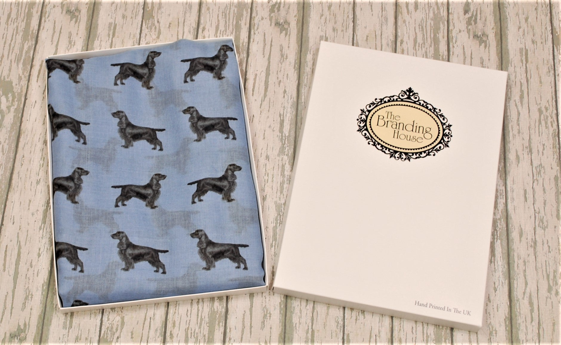 Field Spaniel scarf hand printed in the UK