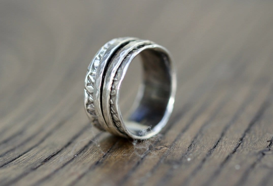 Two Band Hammered Silver Spinning Ring
