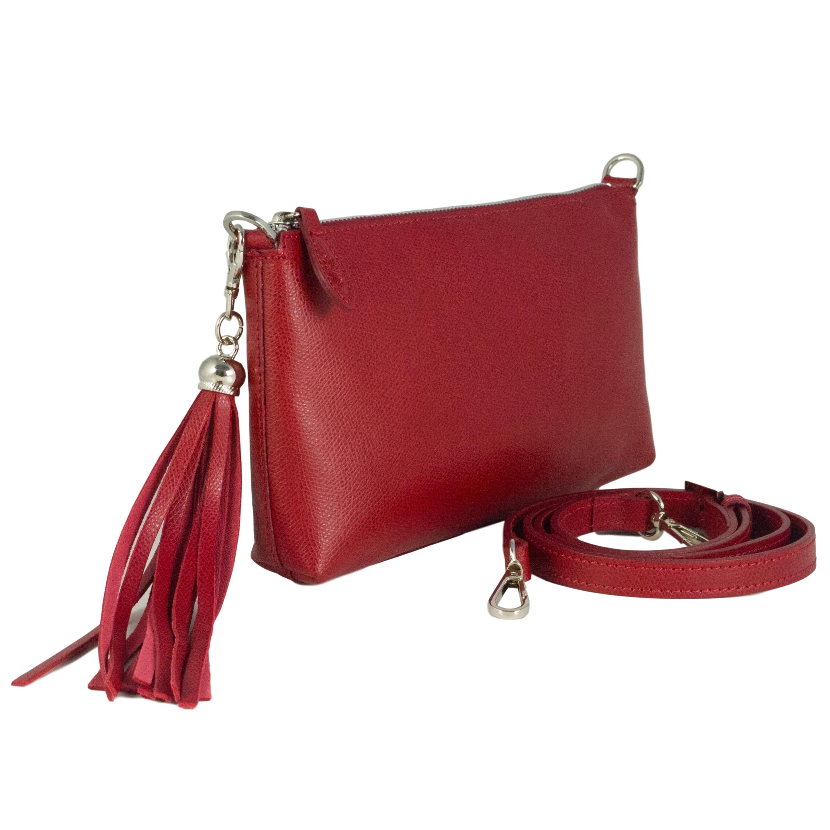 Clutch bag - Classic red leather Forget Me Not