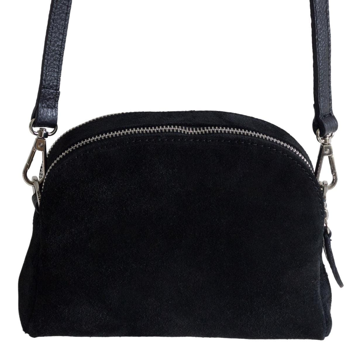 Viola cross-body clutch bag - black suede leather