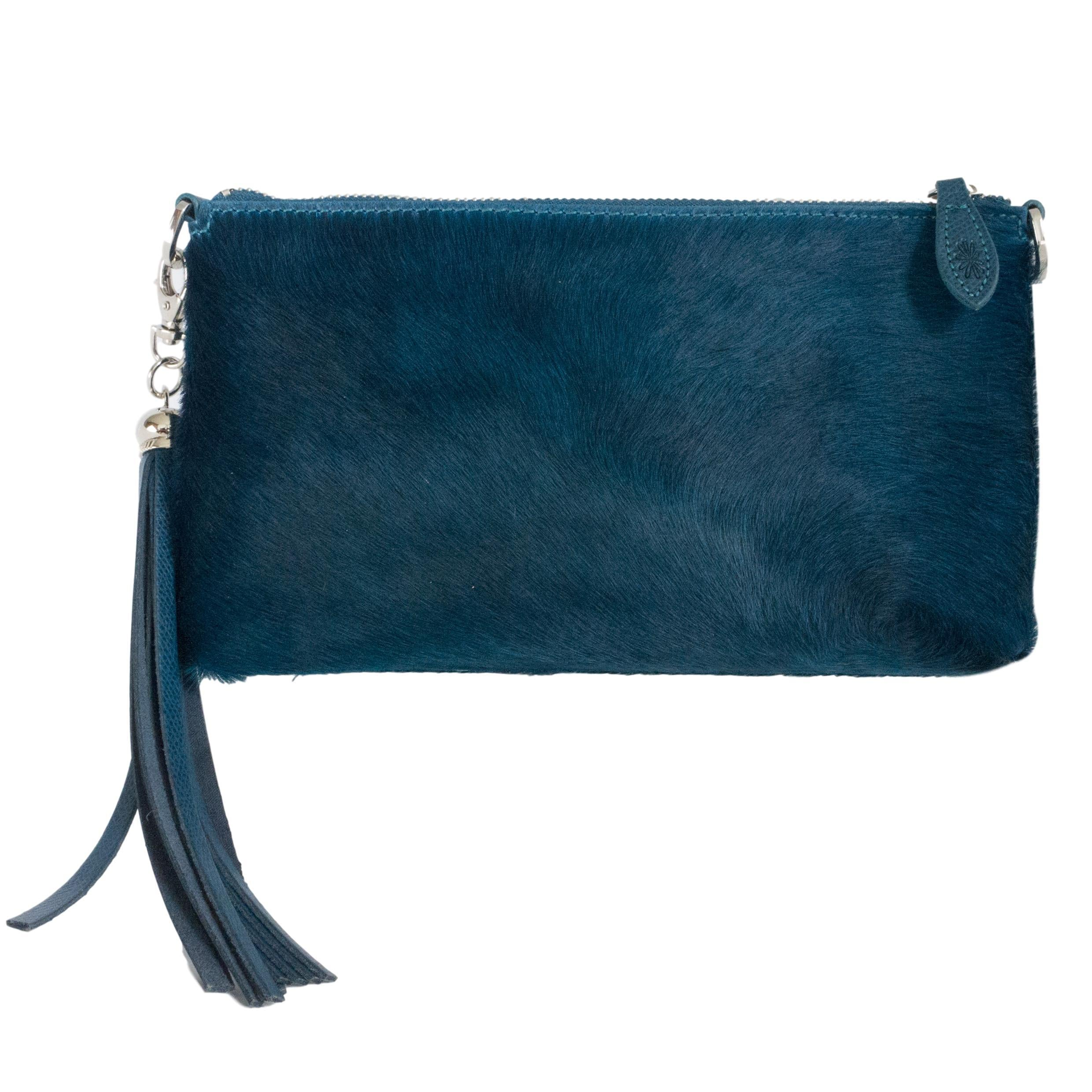 Clutch bag - Teal green Forget Me Not
