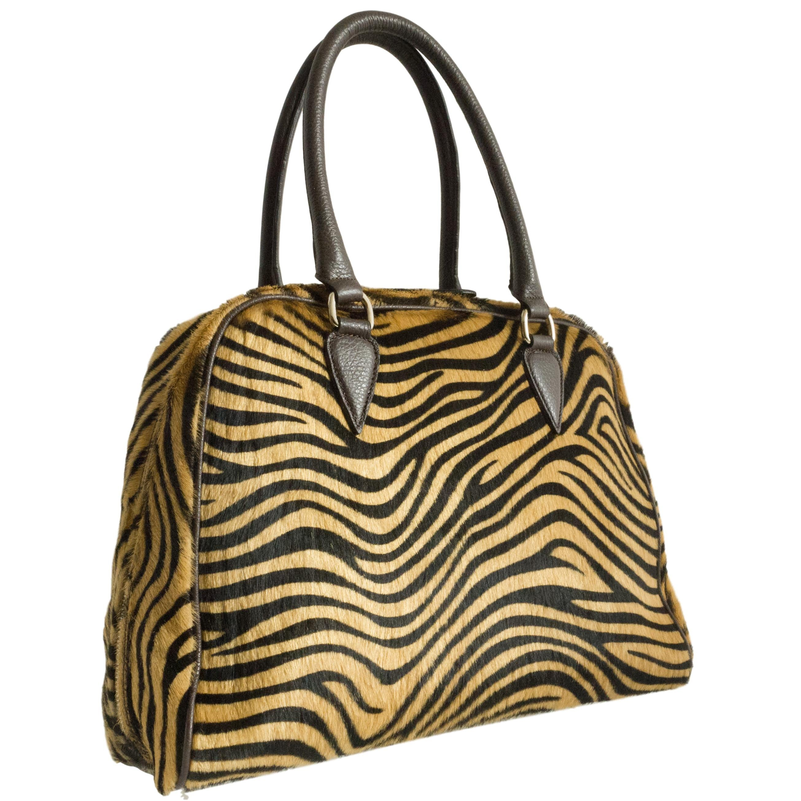 Mimosa furry leather handbag - Tiger Print
