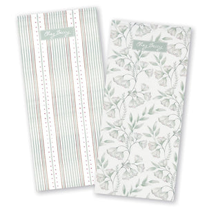 Sage Green Damask Tea Towel