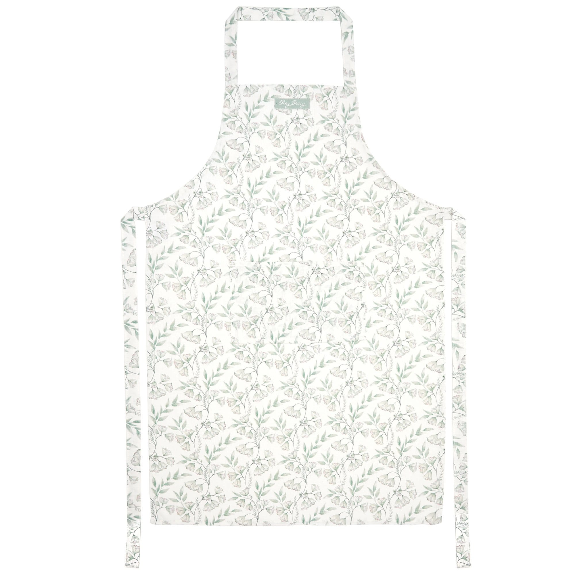 Sage Green Damask Apron and Tea Towel Set