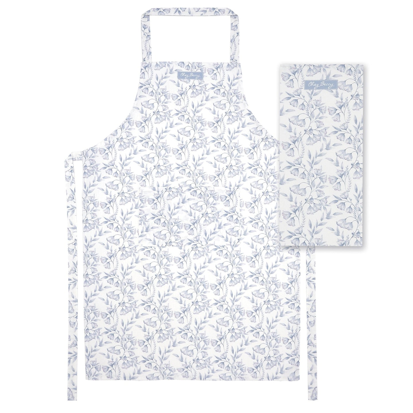 Grey Damask Apron and Tea Towel Set