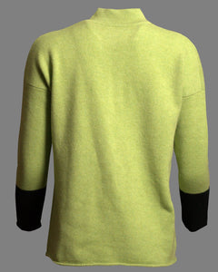 High Collar Jumper in Lime Green with Black