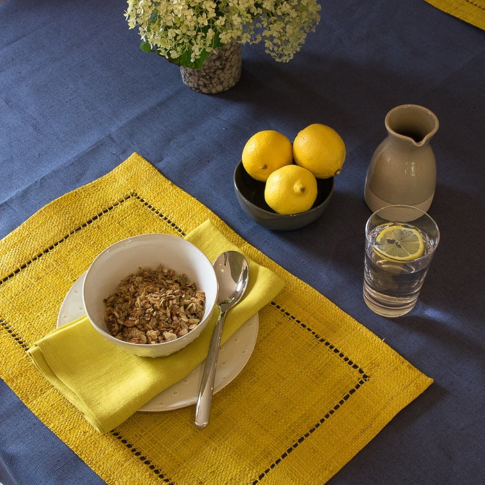 Denim 100% Linen Coated Tablecloth