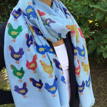 Load image into Gallery viewer, Chicken Scarf - Cute Chicken Print Blue Scarf - Hand Printed in the UK - FREE personalisation