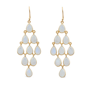 Gold Plated Sterling Silver Chandelier Earrings with Semi-Precious Stones - Moonstone