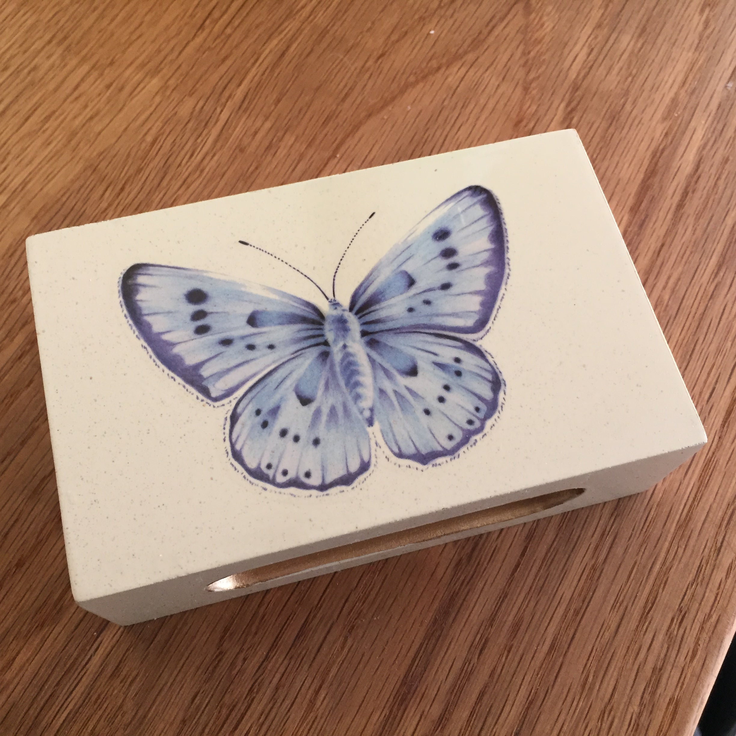 Blue Butterfly Wooden Matchbox