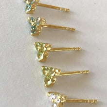 Load image into Gallery viewer, Clover Stud in Gold with Blue Topaz
