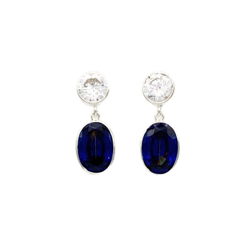 Oltuna Post Earrings - Cubic Zirconia and Sapphire Blue