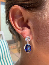 Load image into Gallery viewer, Oltuna Post Earrings - Cubic Zirconia and Sapphire Blue