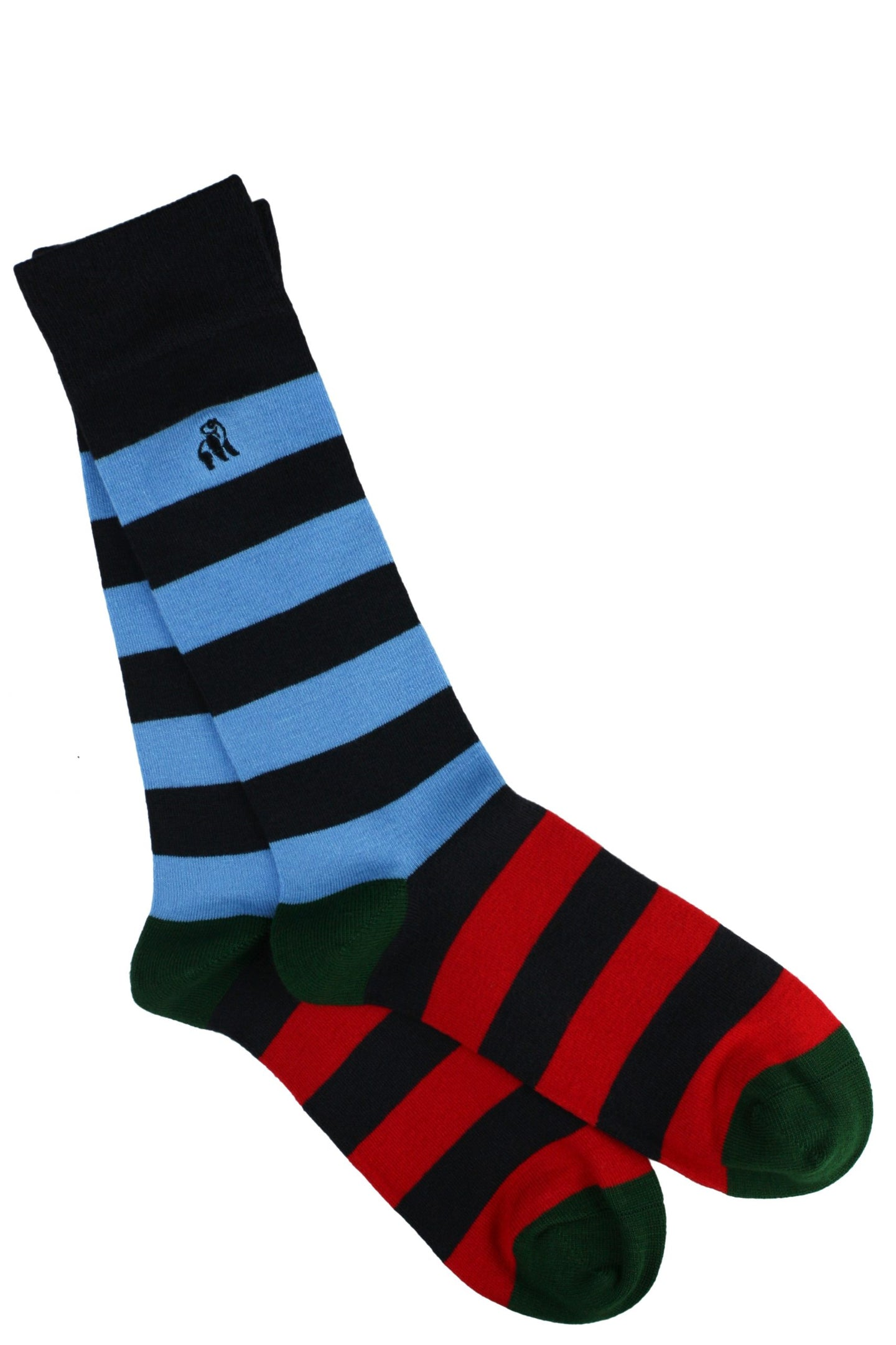 Blue, Red and Green Striped Bamboo Socks