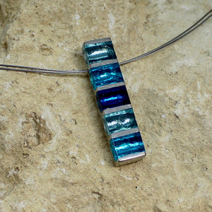 Pewter Stripes  Pendant - Teal