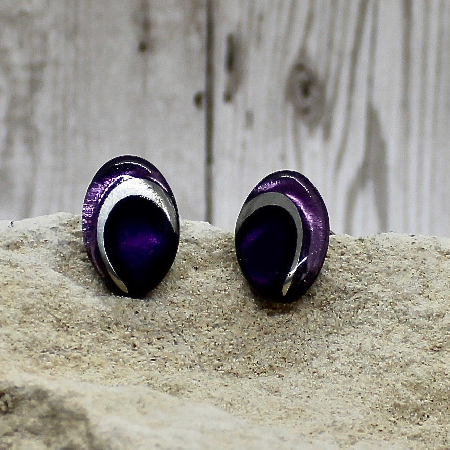 Oval Swirl Earrings - Aubergine