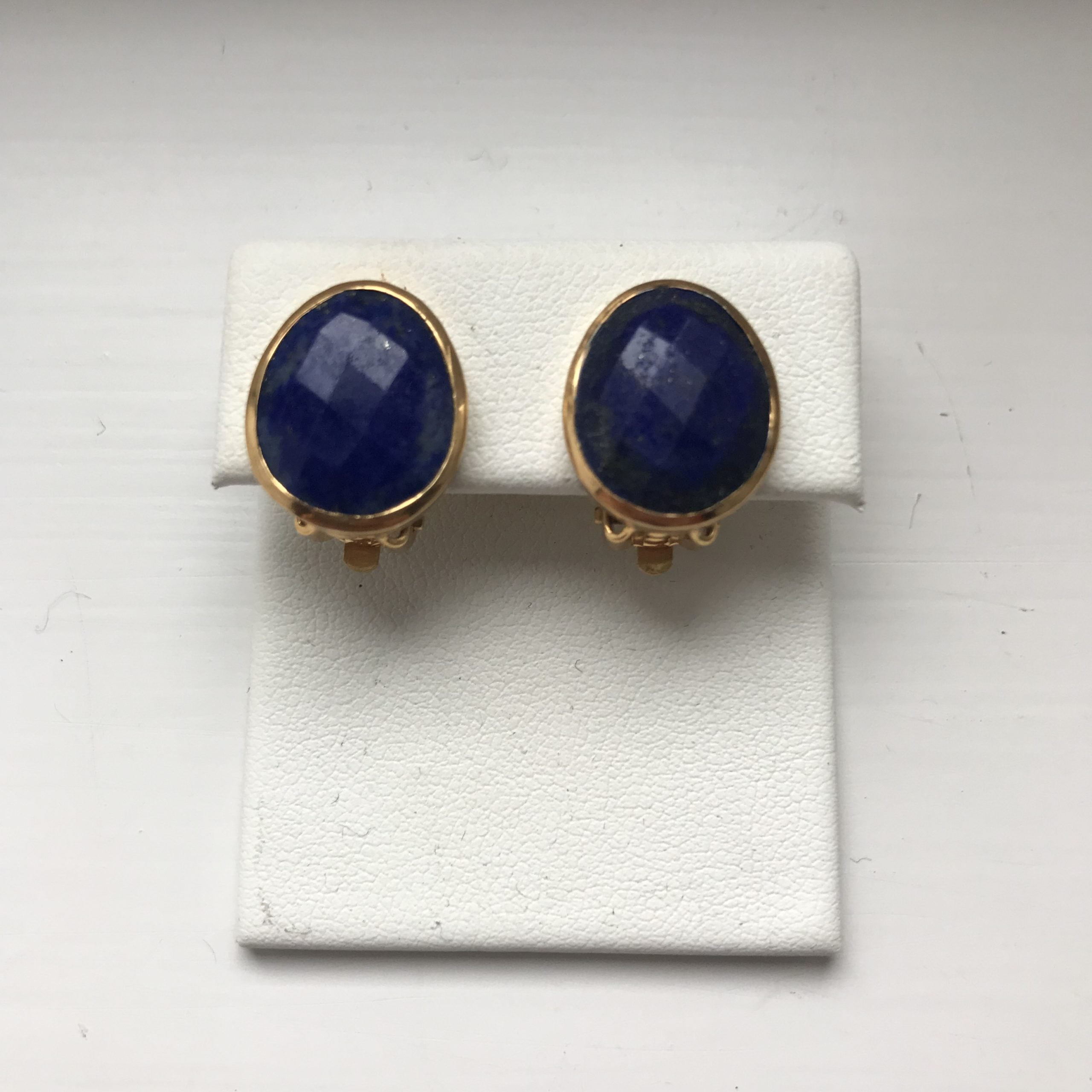Pebble Clip on Earring Lapis Lazuli