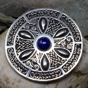 Celtic Wheel Gemstone Brooch - Lapis