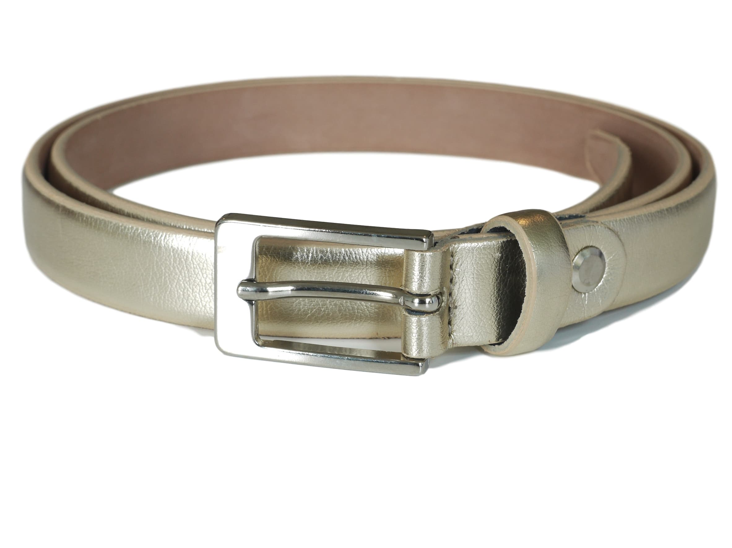 Pale gold skinny leather belt - Astelia Range