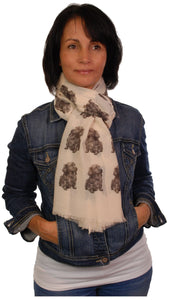 Long Haired Dachshund Scarf - Mike Sibley Dachshund design Ladies Fashion Scarf – Hand Printed in the UK