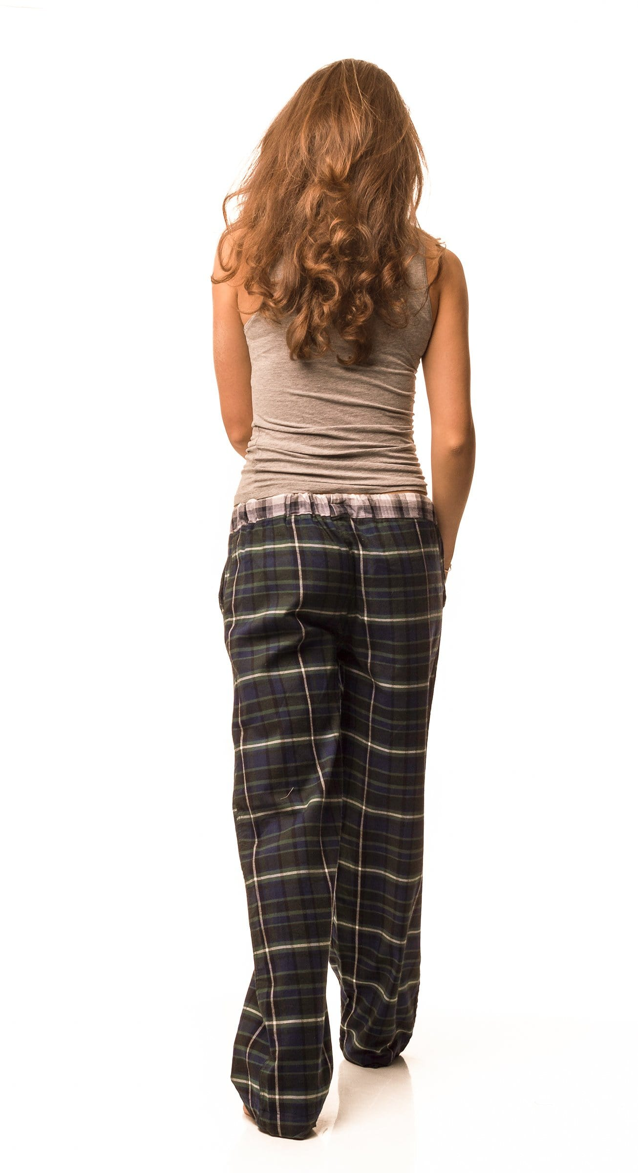 Tillingbourne Bottle green/navy check lounge pants - Women's