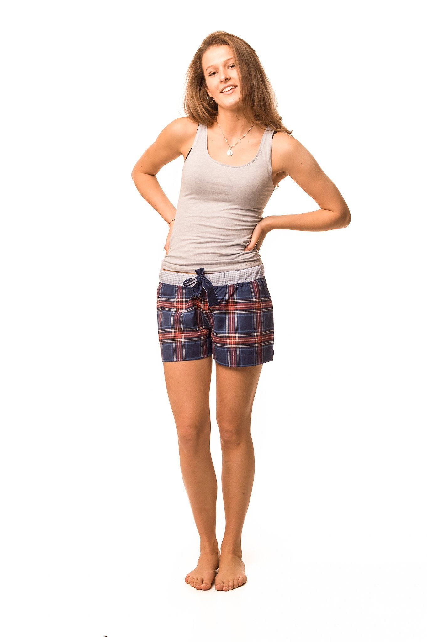 Frensham Blue/red check shorts - Women's