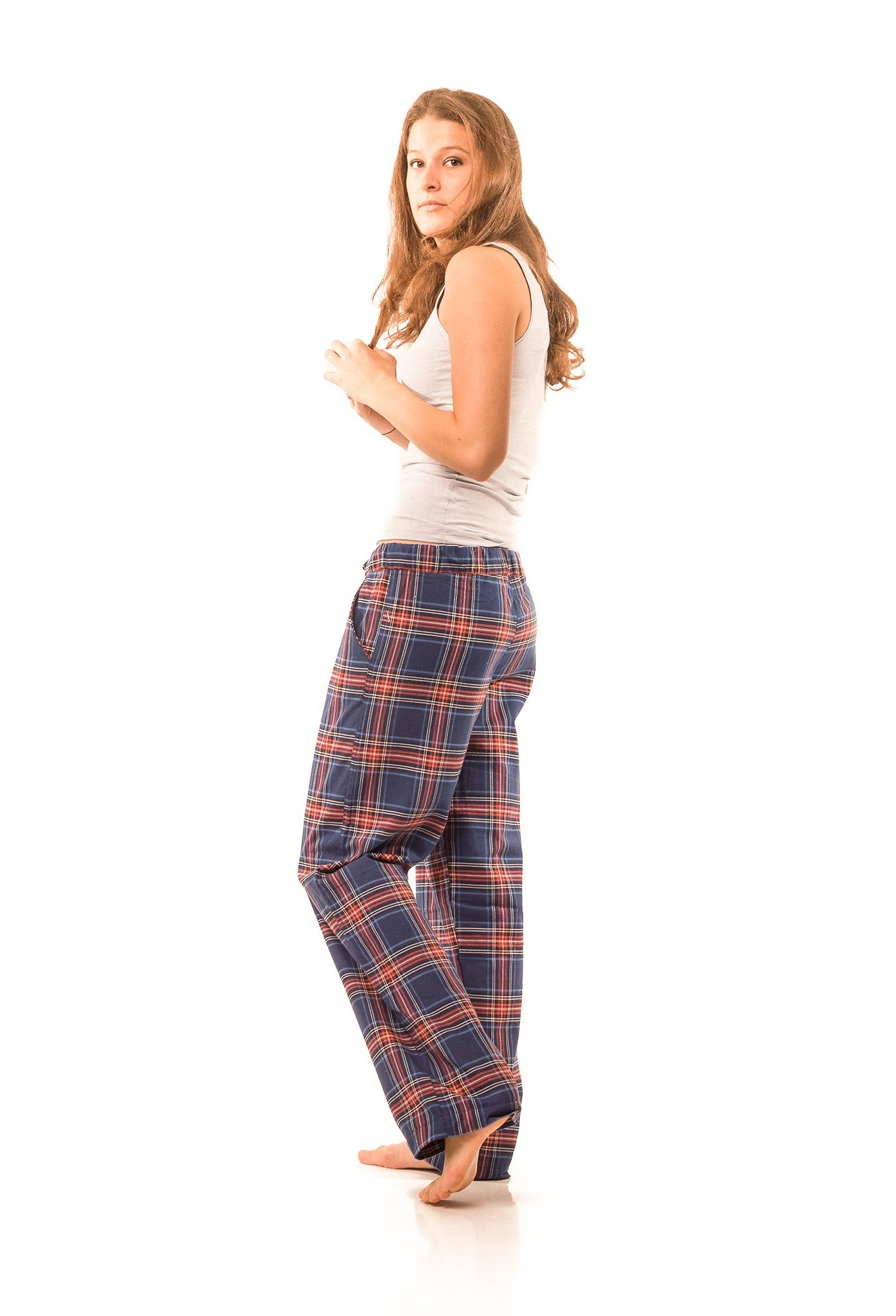 Frensham Blue/red check lounge pants - Women's