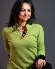 Load image into Gallery viewer, High Collar Jumper in Lime Green with Black