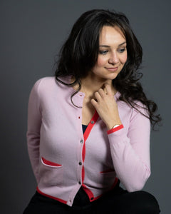 Pocket Cardigan in Pink with Bright Coral Trim