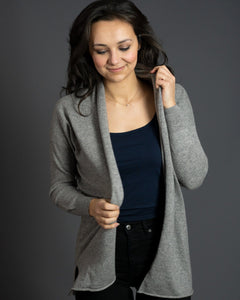 Women's Long Cashmere Cardigan in Flannel Grey