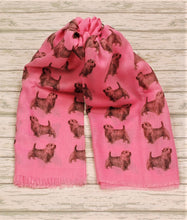 Load image into Gallery viewer, Norfolk Terrier scarf hand printed in the UK