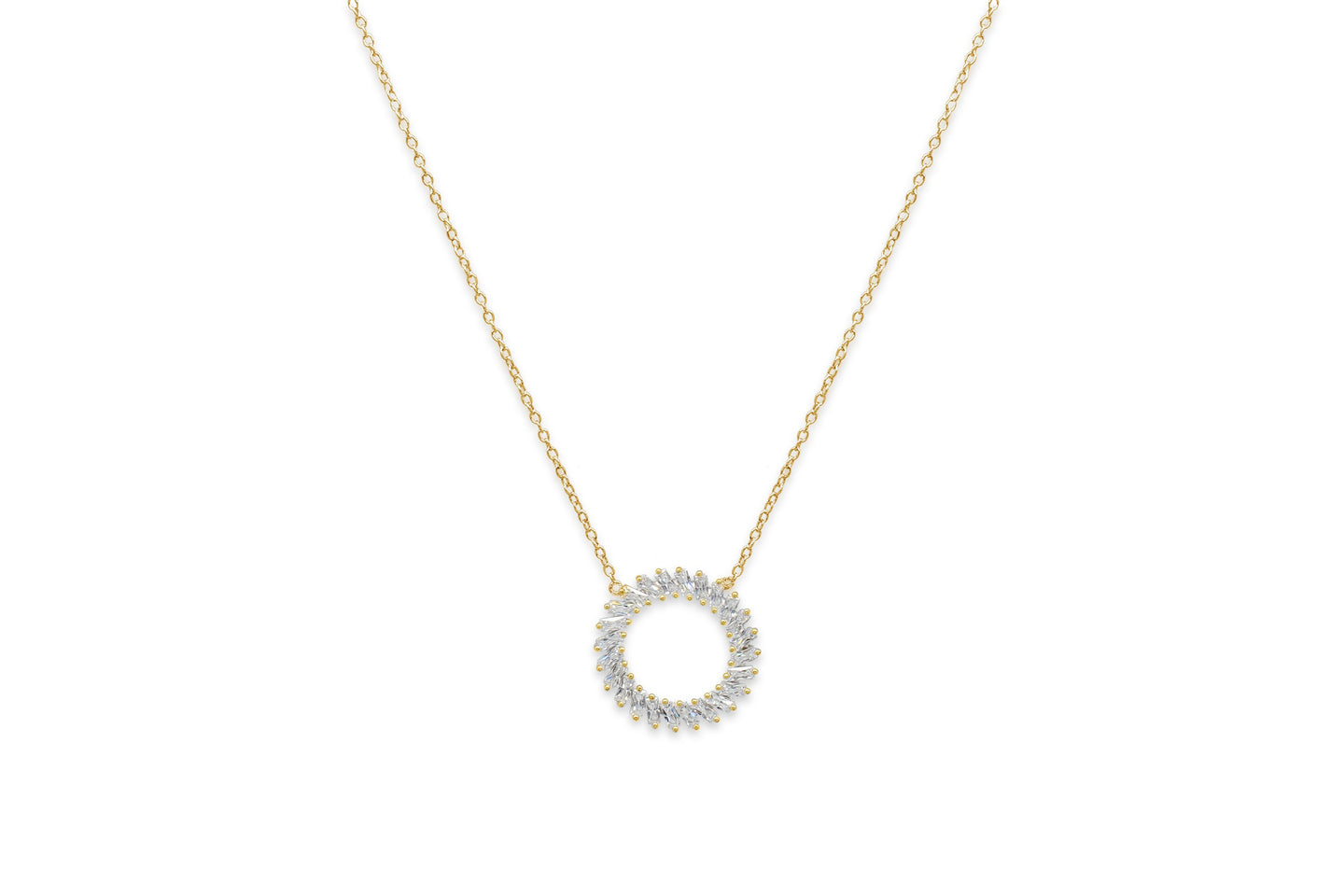 Agavero Gold CZ Disc Necklace