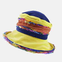Load image into Gallery viewer, Yellow and Blue Fluffy Velvet Hat