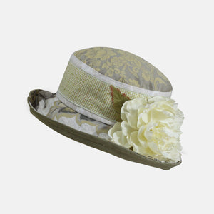 Vintage Fabric Soft Brim Gingham with Flower