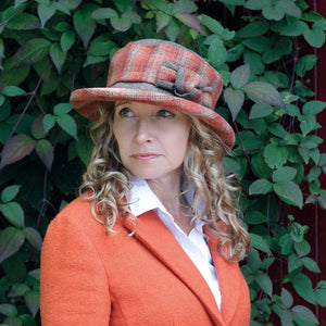 Checked Hat with Boned Brim and Matching Bow