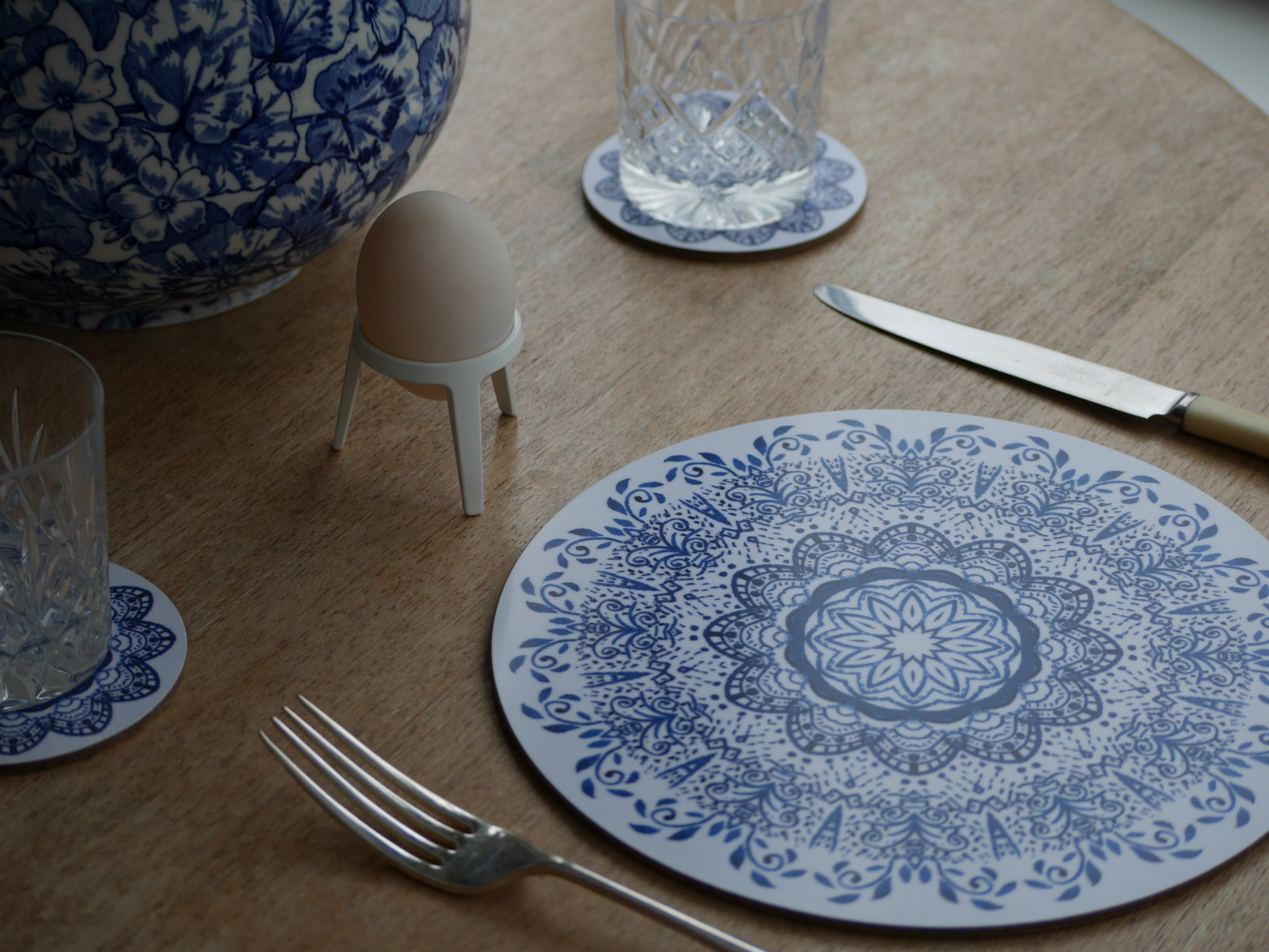 Cornflower Blue Mandala Placemat Set