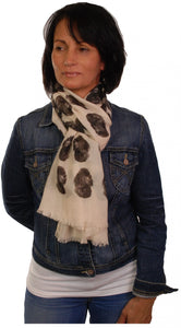 Poodle Scarf - Mike Sibley Poodle Design Ladies Fashion Scarf - Hand Printed In The UK