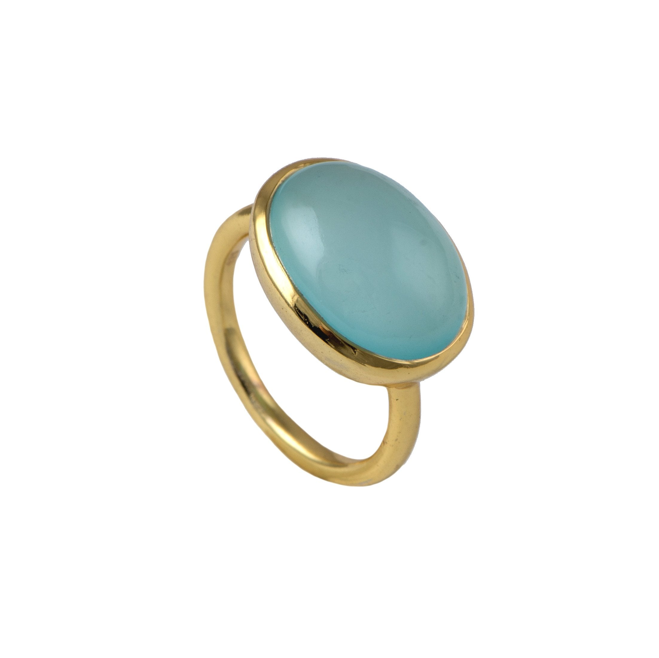 Cabochon Oval Cut Natural Gemstone Gold Plated Sterling Silver Ring - Aqua Chalcedony
