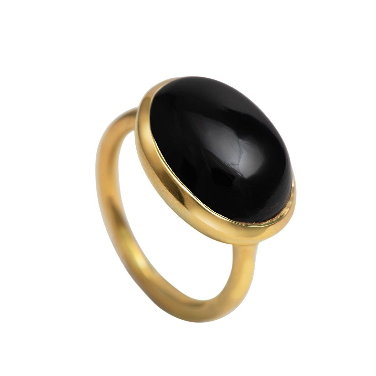 Cabochon Oval Cut Natural Gemstone Gold Plated Sterling Silver Ring - Black Onyx
