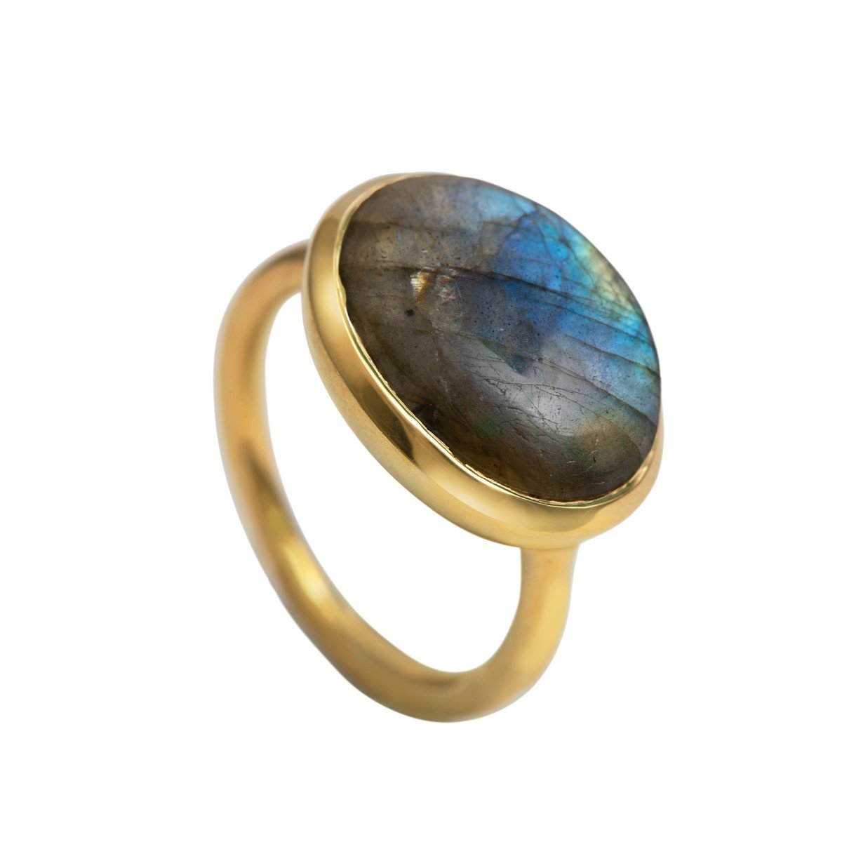 Cabochon Oval Cut Natural Gemstone Gold Plated Sterling Silver Ring - Labradorite