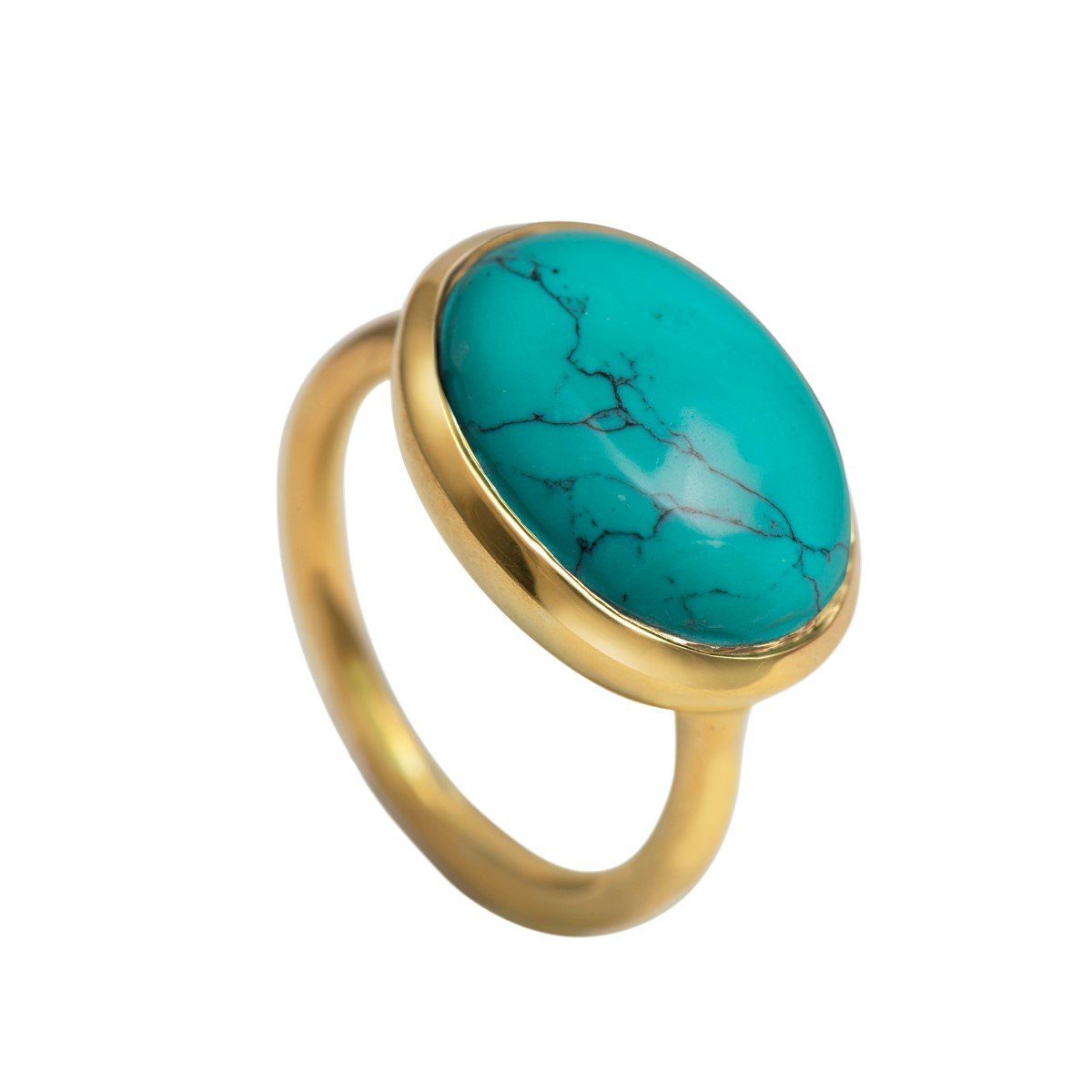 Cabochon Oval Cut Natural Gemstone Gold Plated Sterling Silver Ring - Turquoise