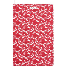 Load image into Gallery viewer, Red Floral Tea Towel
