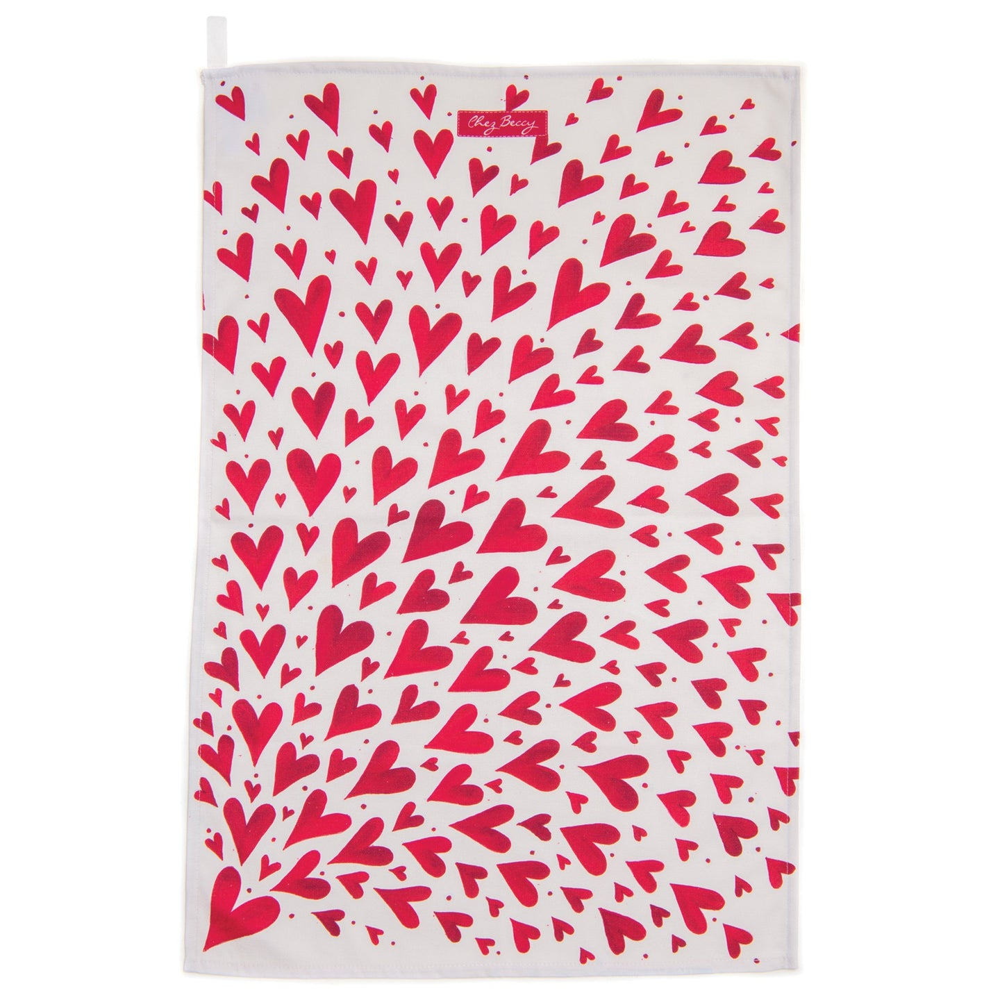 PRE ORDER - Red Shooting Hearts Tea Towel
