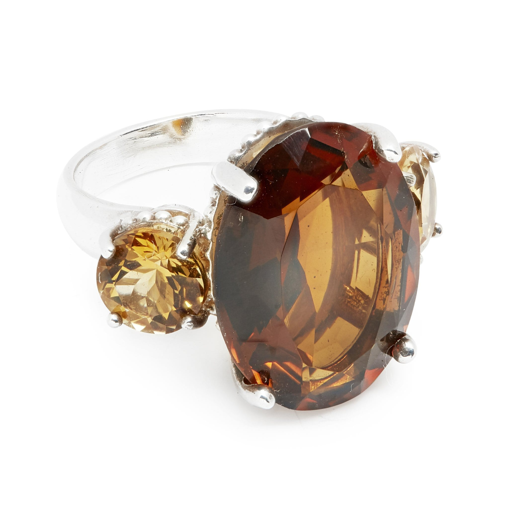 The Renaissance Statgement Ring in Smokey Quartz and Citrine