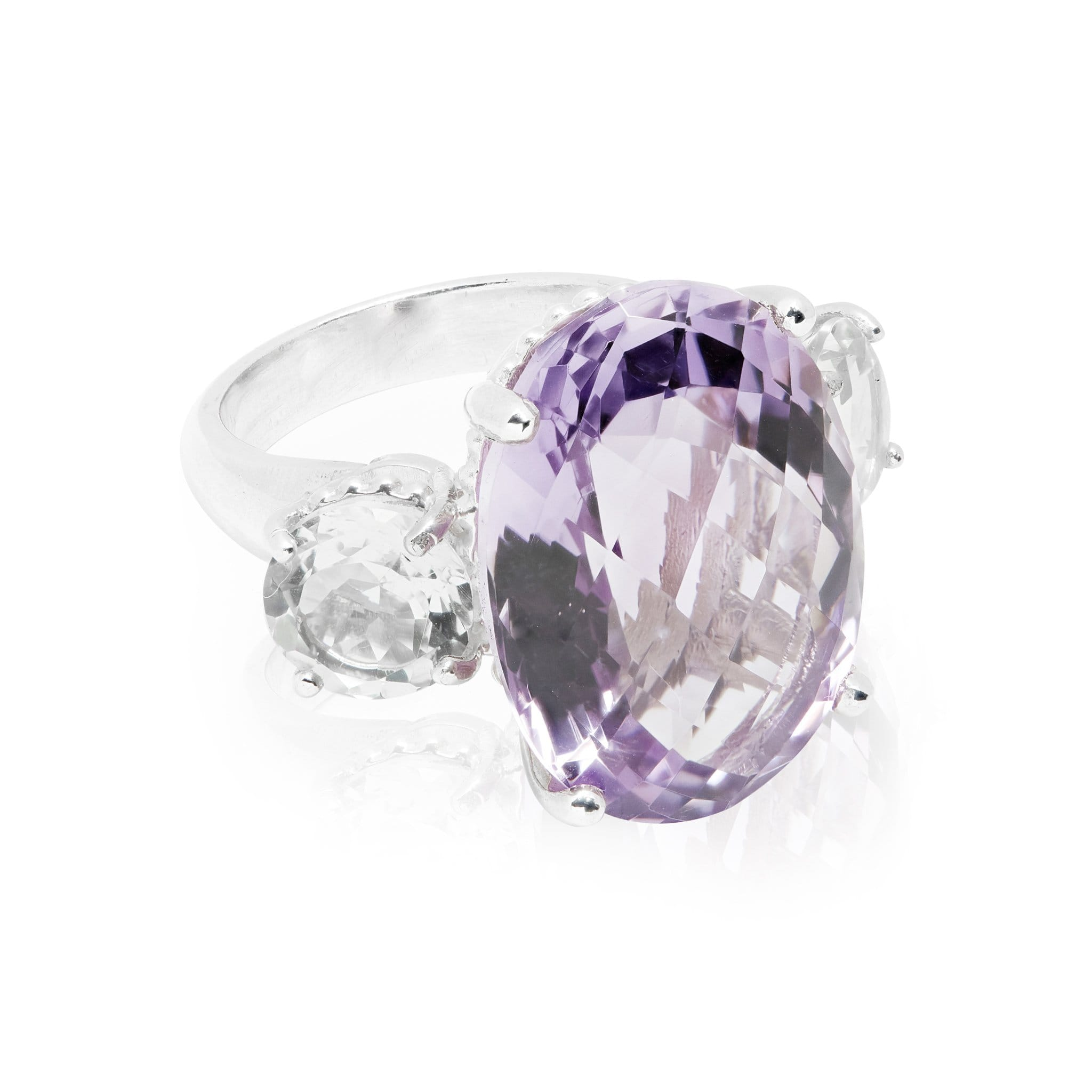 The Renaissance Statement ring in purple amethyst and crystal quartz.