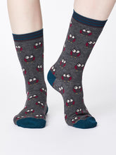 Load image into Gallery viewer, Owlie Bamboo Socks in Mid Grey Marle by Thought Size 4-7