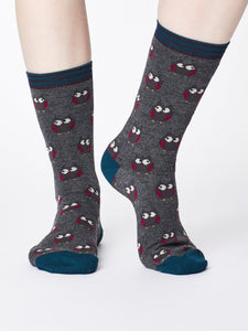 Owlie Bamboo Socks in Mid Grey Marle by Thought Size 4-7