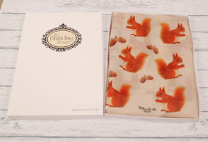 Squirrel Scarf - Cute Red Squirrel Print Scarf - Hand Printed in the UK - FREE personalisation