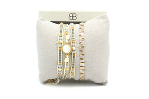 Pinatubo Cream & Gold 2 Layer Bracelet Stack